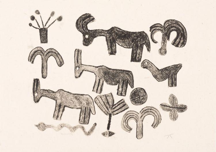 Katunga Carimbwe; Three Goats, Bird and a Snake