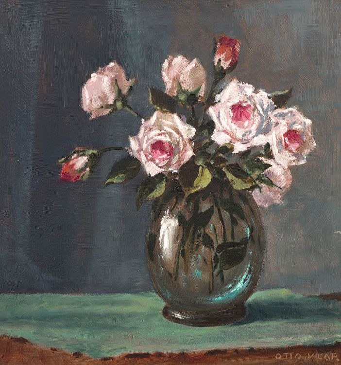 Otto Klar; Pink Roses in a Glass Vase
