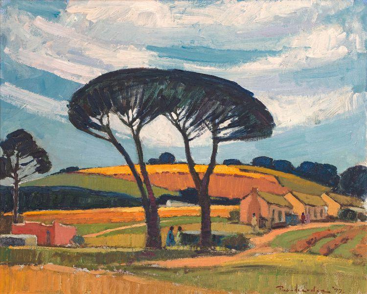Piet van Heerden; Farm Landscape with Figures and Houses