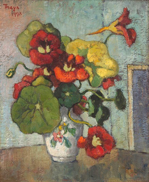 Conrad Theys; Nasturtiums in a Vase