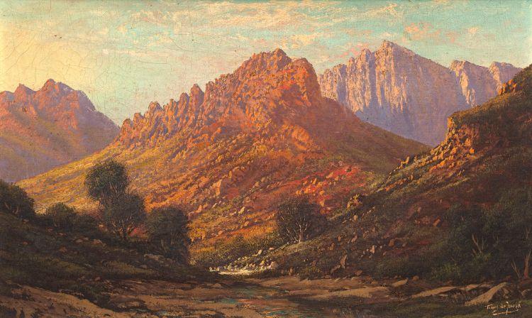 Tinus de Jongh; A Mountainous Landscape