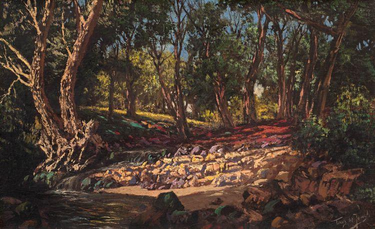 Tinus de Jongh; A Stream Flowing Through Trees