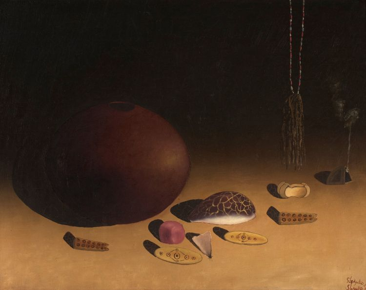 Simon Moroke Lekgetho; Still Life with Clay Pot and Divination Objects