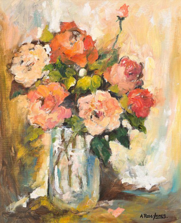 Alexander Rose-Innes; Roses in a Glass Vase