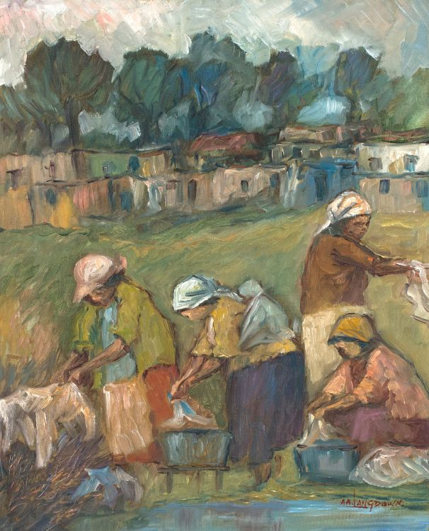 Amos Langdown; Washerwomen by a Stream