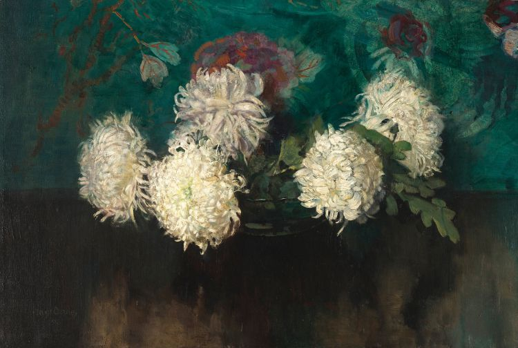 Frans Oerder; White Chrysanthemums in a Glass Bowl