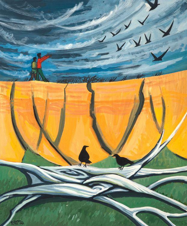 Peter Clarke; Tree, Eroded Bank and Birds, Teslaarsdal (sic)