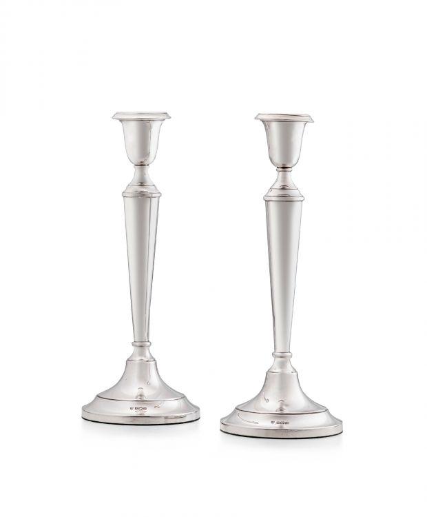 A pair of Elizabeth II silver candlesticks, J B Chatterley & Sons Ltd, Birmingham, 1969