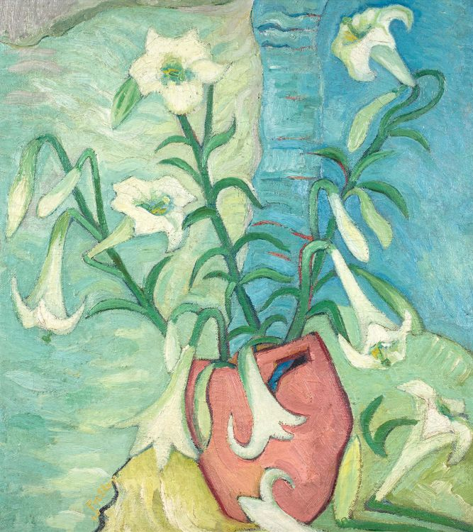 Alexis Preller; St Joseph's Lilies in a Pink Vase