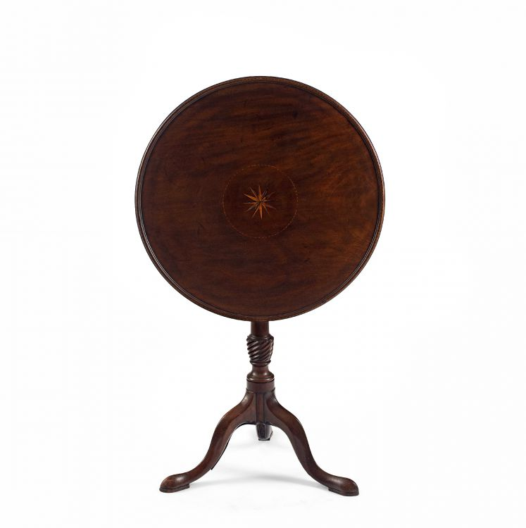 A George III mahogany and inlaid tilt-top tripod table, 19th century