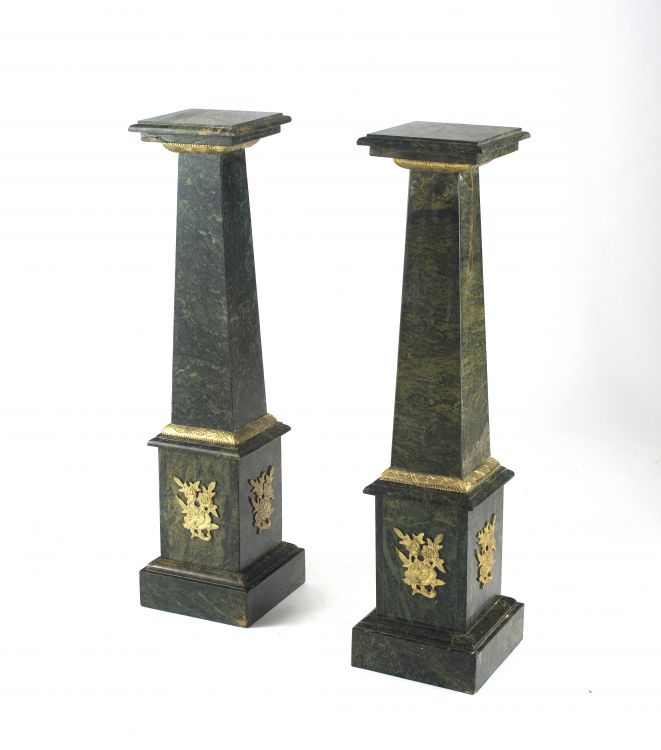A pair of mottled green marble and gilt-brass-mounted pedestals, 19th century