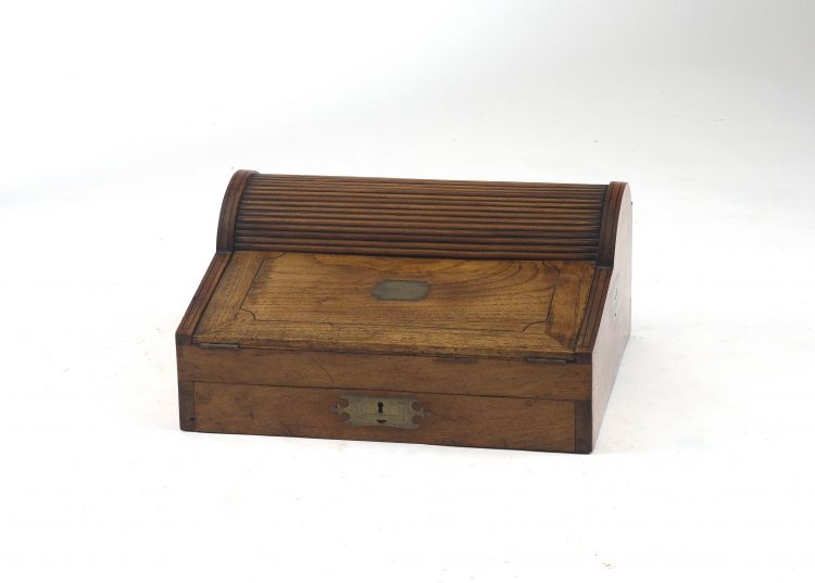 A Colonial teak travelling desk, 19th century