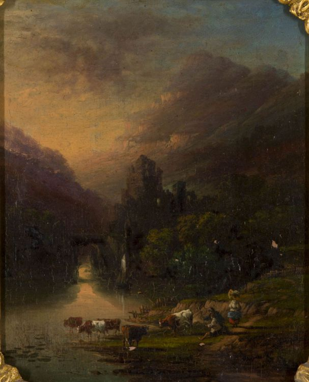 Follower of Anthony Vandyke Copley Fielding; A View of Inverary N.B. with River and Cattle