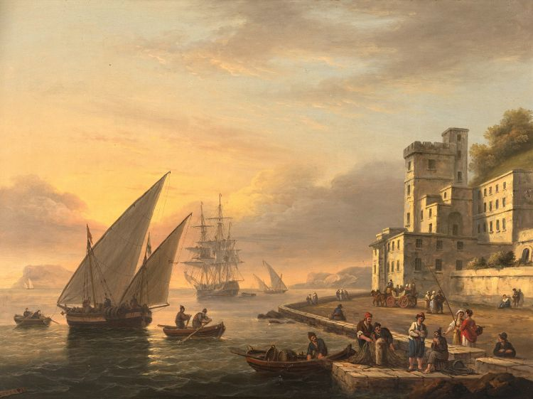 Thomas Luny; A Mediterranean Sailing Ship Approaching the Quay