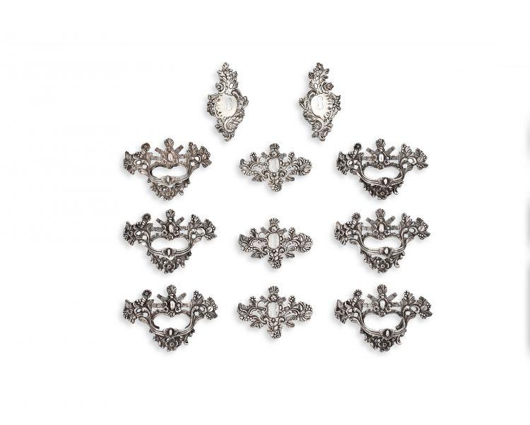 Eleven Cape silver fittings, Johannes Casparus Lotter, early 19th century