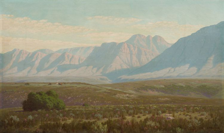 Jan Ernst Abraham Volschenk; A Fine Day in the Veld - Scene near Courente River, Riverdale (sic)