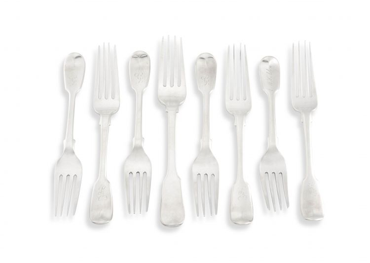 A set of seven Cape silver Fiddle pattern dessert forks, William Moore, mid-19th century