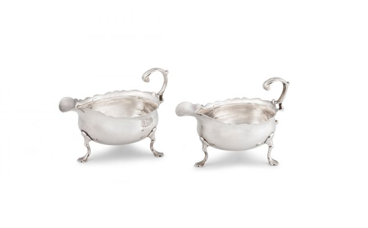A pair of George III silver sauce boats, David Mowden, London, 1763
