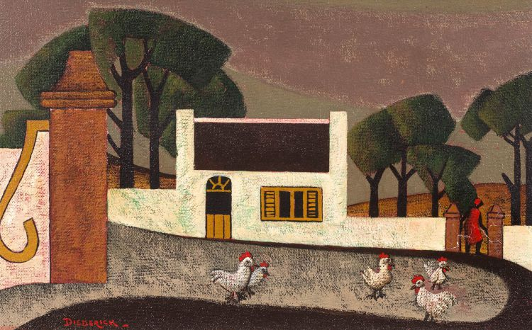 Diederick During; Five Roosters Outside a House