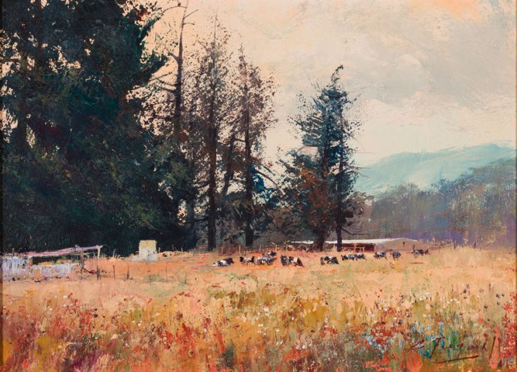 Christopher Tugwell; Farm Scene with Cows