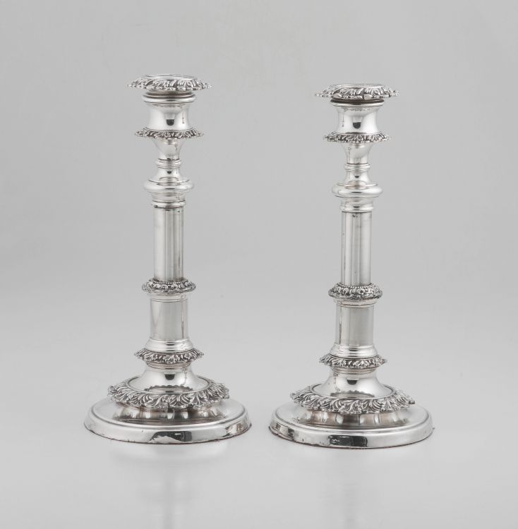 A pair of Victorian Sheffield silver-plate telescopic candlesticks, 19th century
