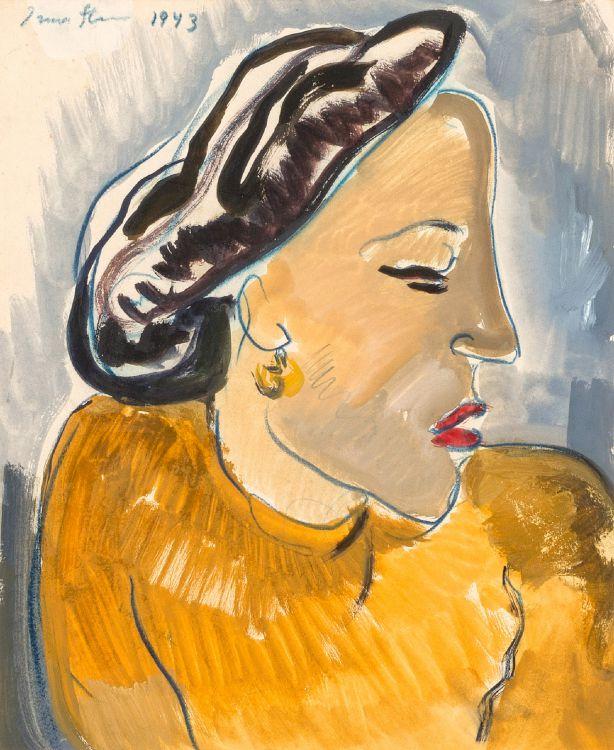 Irma Stern; Portrait of a Woman in a Yellow Dress