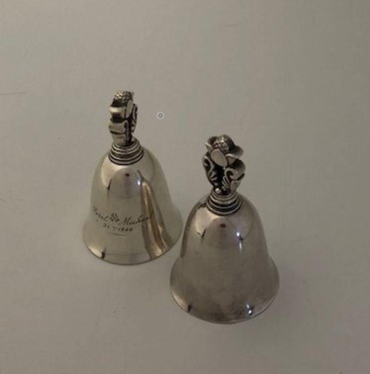 A pair of Georg Jensen silver Acorn Pattern table bells no. 204, designed by Johan Rohde, Denmark, .925 standard