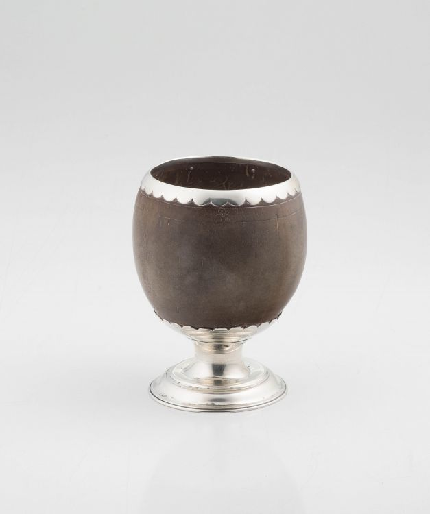 A Colonial silver-plated mounted coconut cup, early 19th century