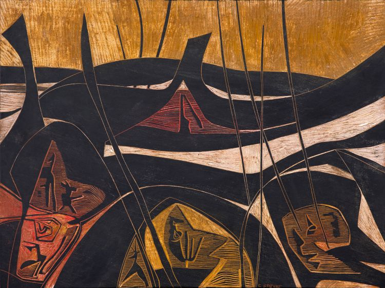 Cecil Skotnes; Landscape with Figures and Animals