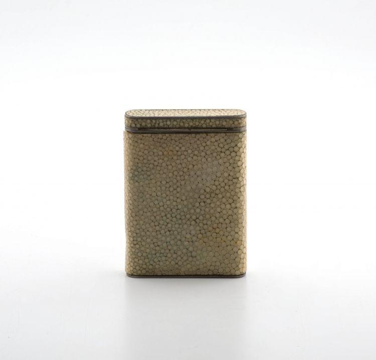 An Art Deco silver-gilt and shagreen card case