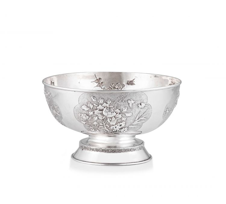 A Chinese Export silver rose bowl, 19th century