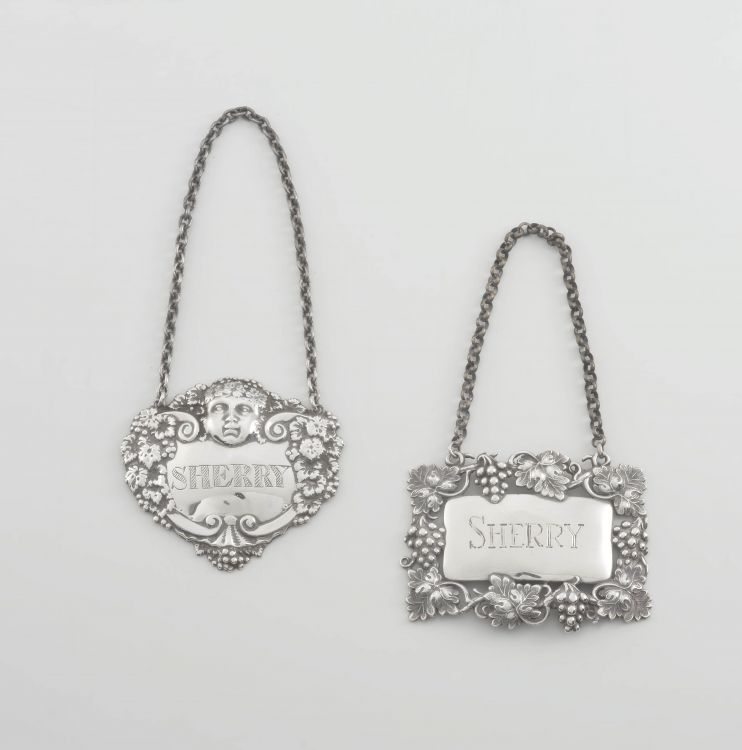 A Victorian silver decanter label for Sherry, Joseph Willmore, Birmingham, 1843