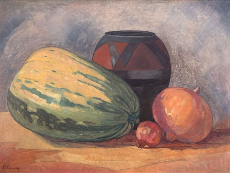 Jacob Hendrik Pierneef; Still Life of Gourds, a Pomegranate and an African Clay Pot