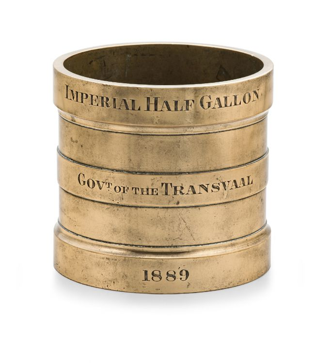 A brass Imperial Half Gallon measure, Govt. of the Transvaal, 1889