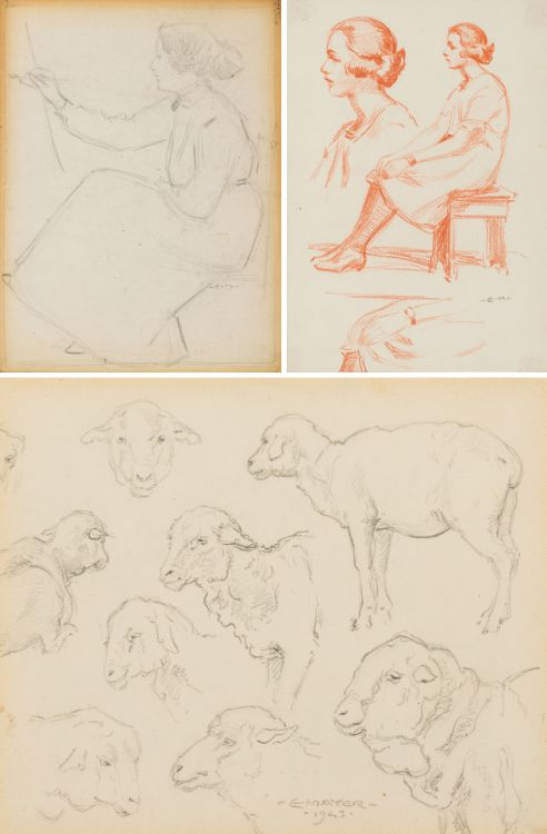 Erich Mayer; Female Artist; Studies of Seated Woman; Studies of Sheep; three