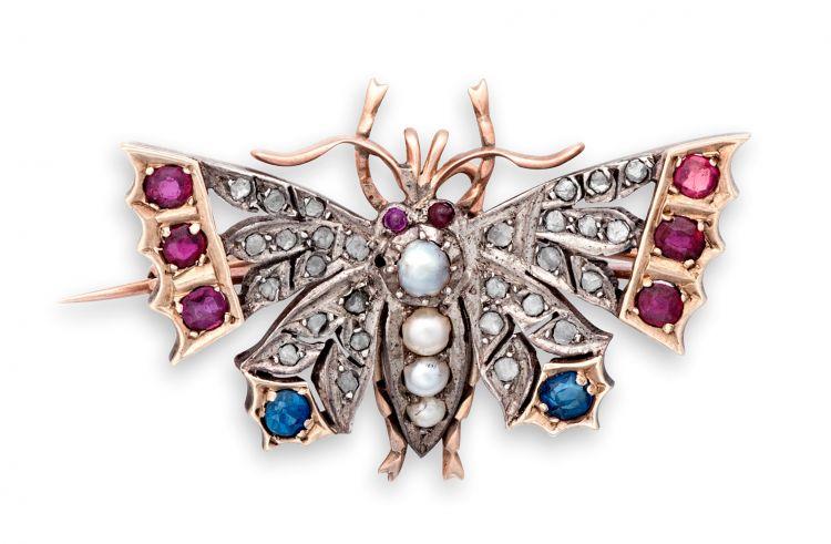 Late Victorian gem-set butterfly brooch
