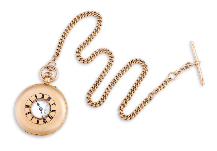 18ct gold half-hunting cased keyless lever watch, JW, London, 1905