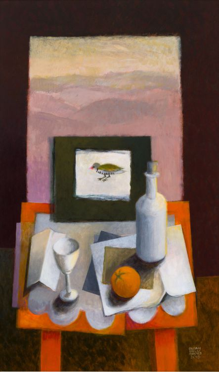 Susan Helm Davies; Still Life with Embroidered Bird