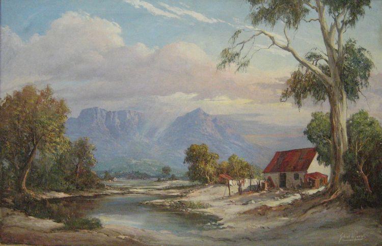 Gabriel de Jongh; A Cottage in a Mountainous Landscape