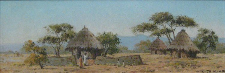 Otto Klar; Landscape with Rondavels