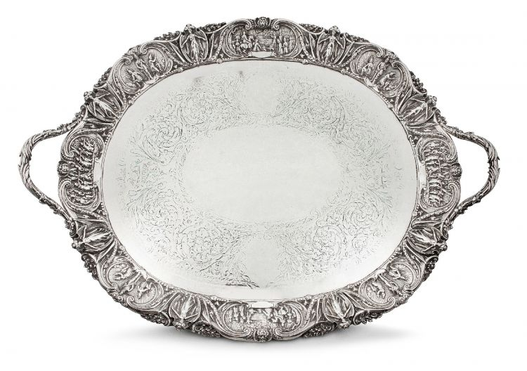 A Victorian silver-plate two-handled presentation tray, possibly Bradbury & Sons, 24 August 1861