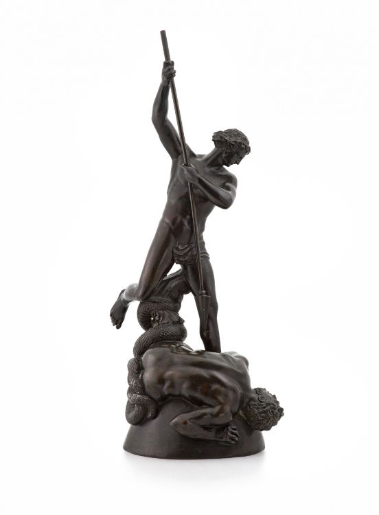 A bronze model of St Michael overcoming Satan, Edward William Wyon, 1811-1885, after John Flaxman for the Art Union of London