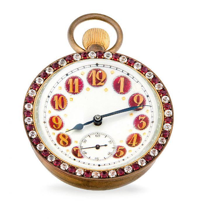 A Victorian jewelled, brass and glass ball desk clock