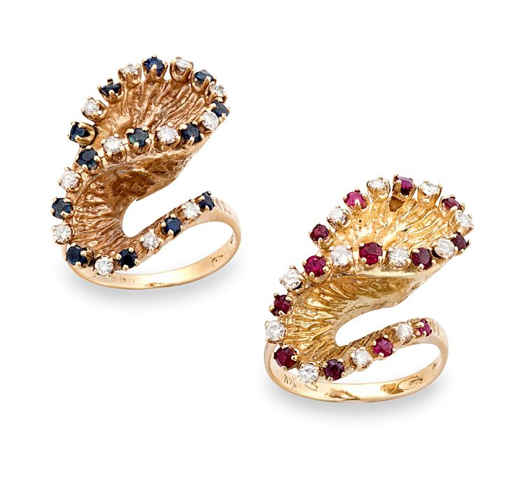 Two ruby and sapphire diamond dress rings