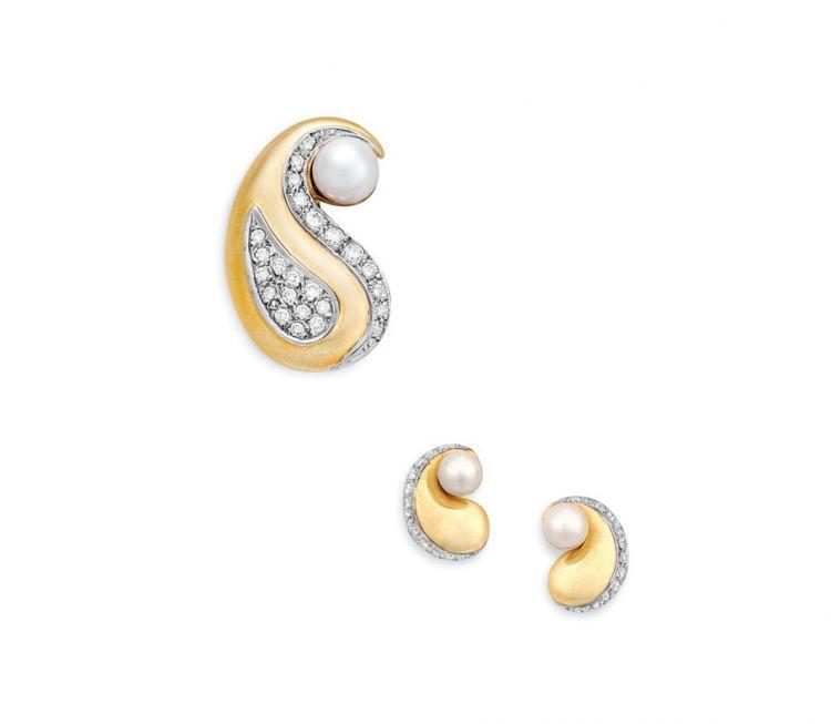 Diamond, pearl and gold pendant