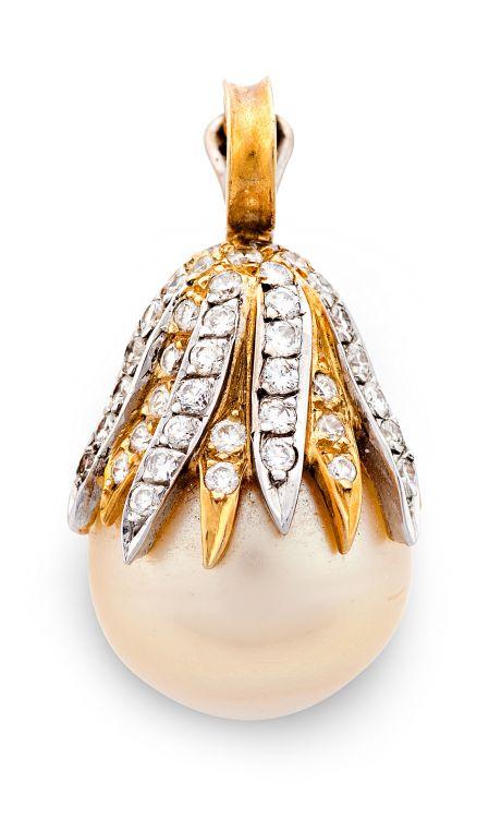Pearl and diamond pendant/enhancer