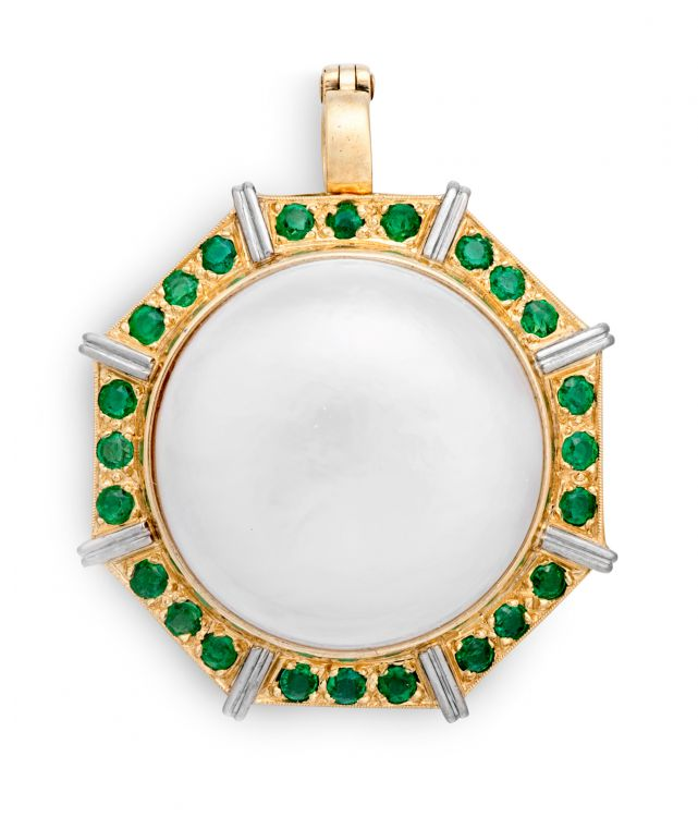 Emerald, mabé pearl and gold pendant