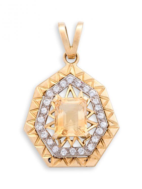 Topaz, diamond and gold pendant