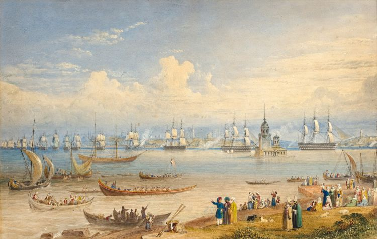 William Purser; Shipping on the Bosphorus near Maiden's Tower, Constantinople