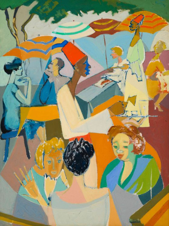 Israeli School 20th Century; Street Café Scene